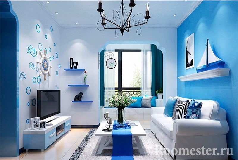 Living room with blue interior