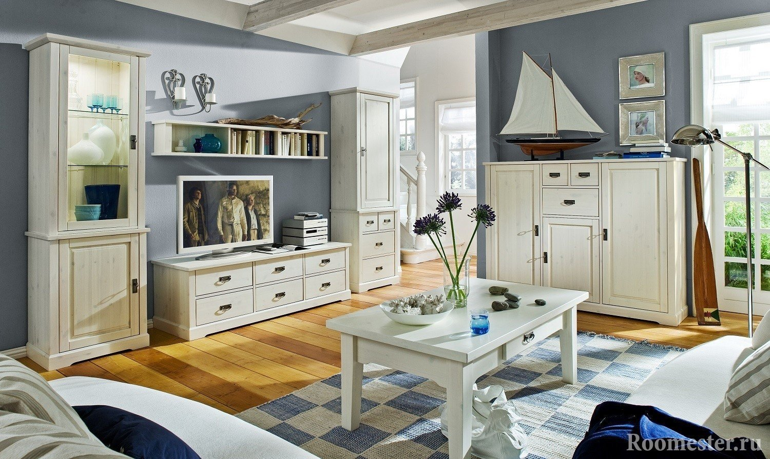White furniture in the living room