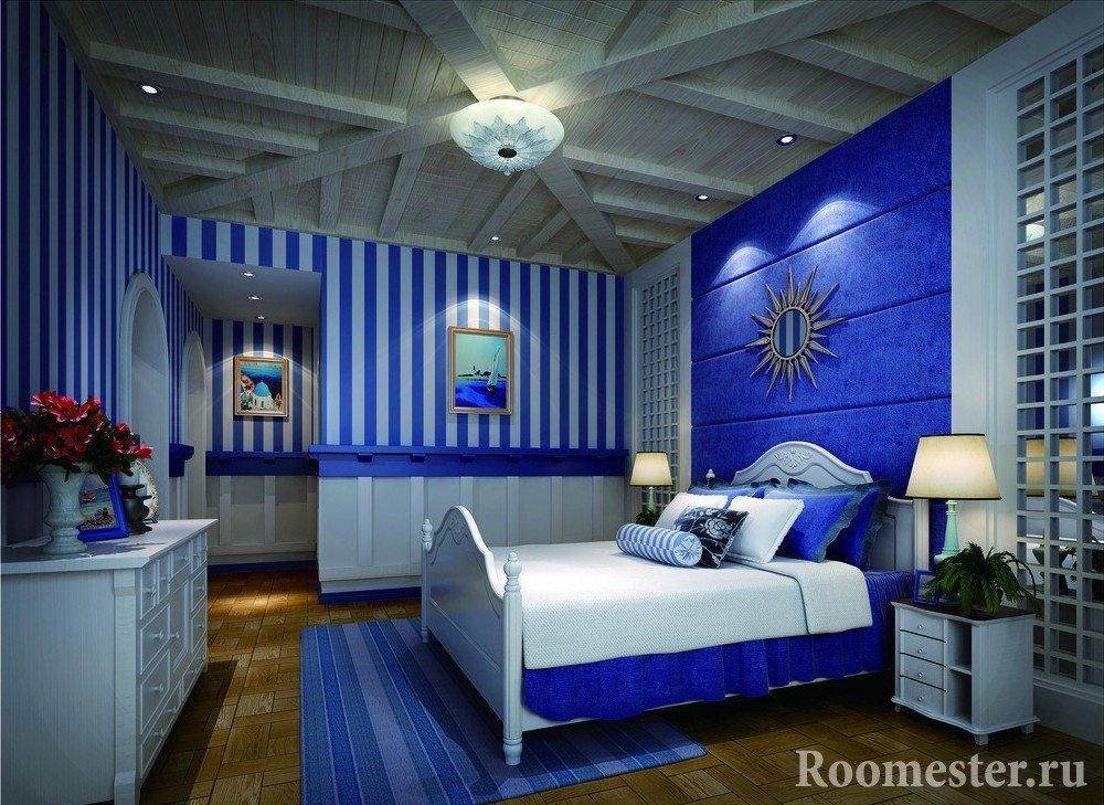 White and blue bedroom interior