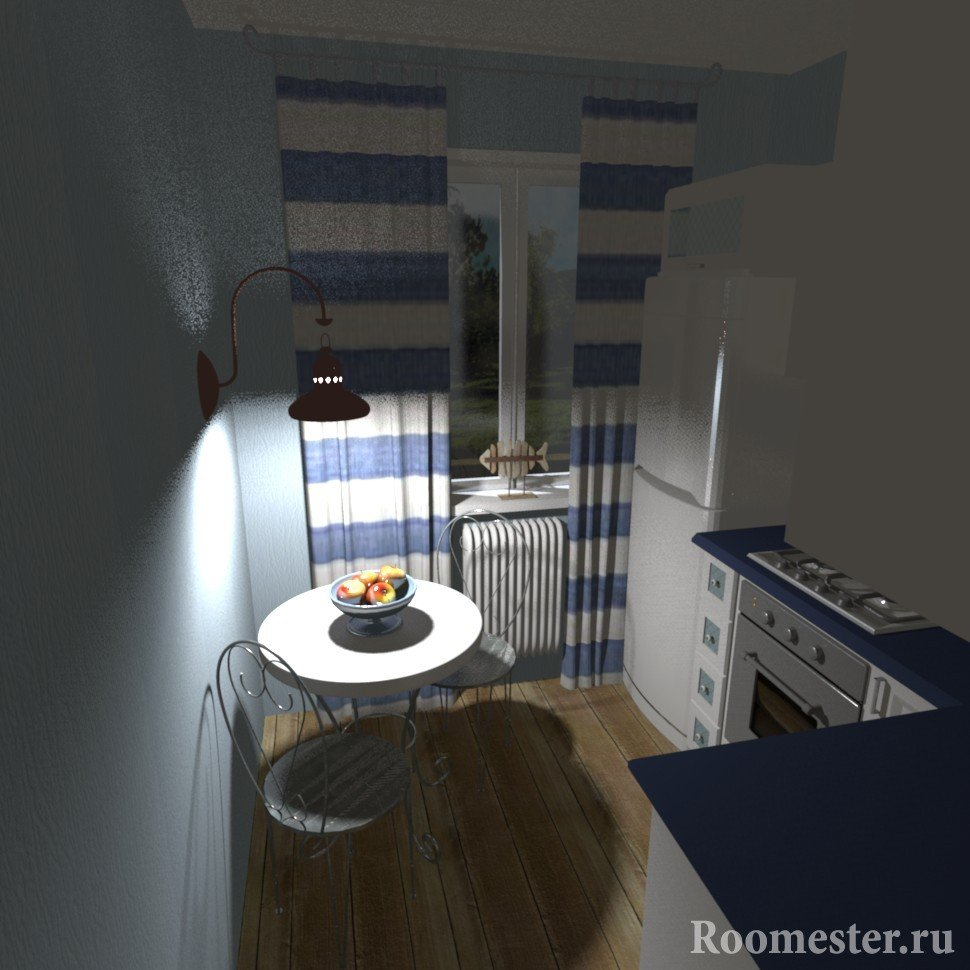 Kitchen with blue and white interior