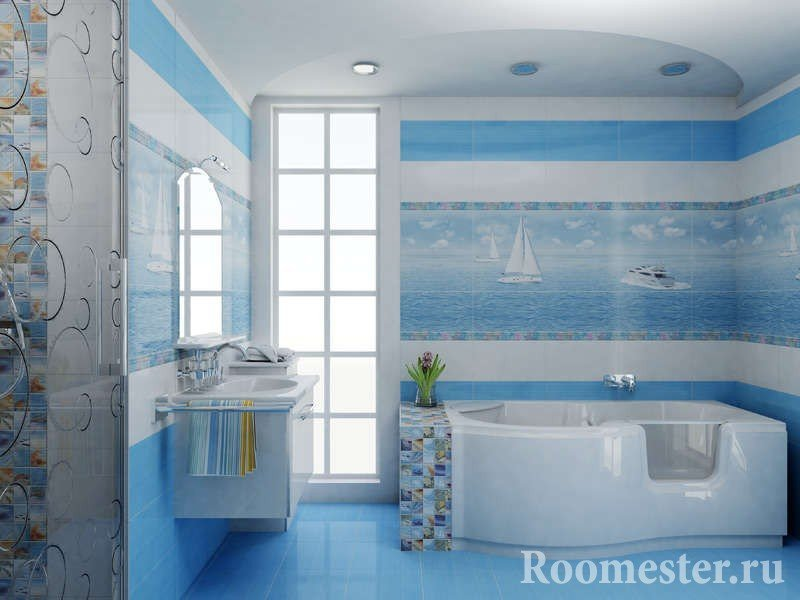 Landscape with sea and ships in the bathroom