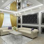 Черно-белые стены в гостиной