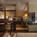 Красивый дизайн комнаты с аквариумом