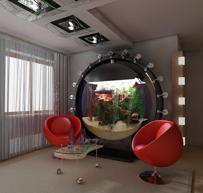 Оригинальный интерьер с аквариумом