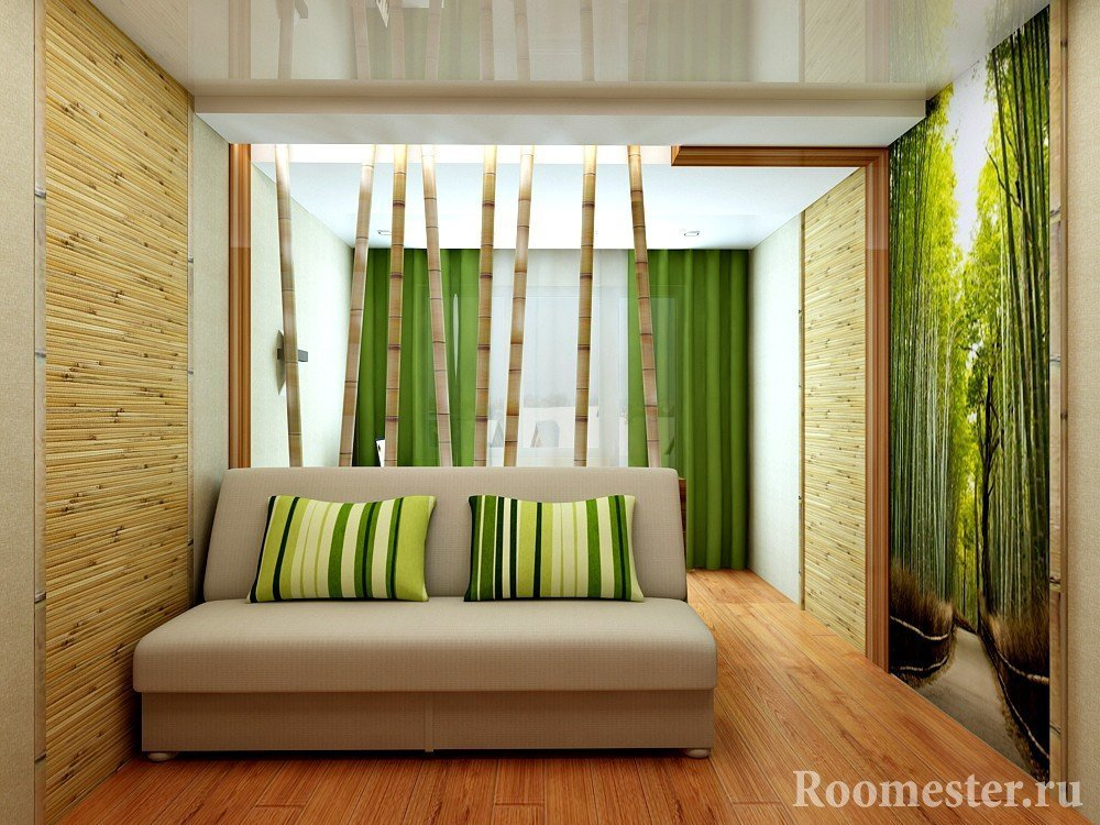 Стволы бамбука за диваном