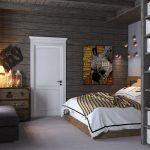 Белая дверь и темные стены в спальне