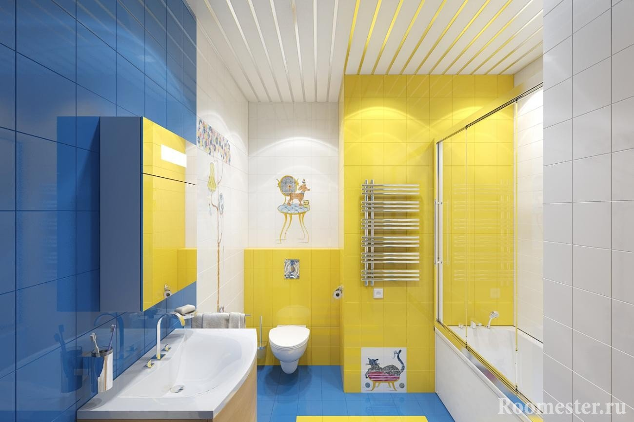 Blue, yellow and white colors in the bathroom
