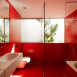 Red walls in the bathroom