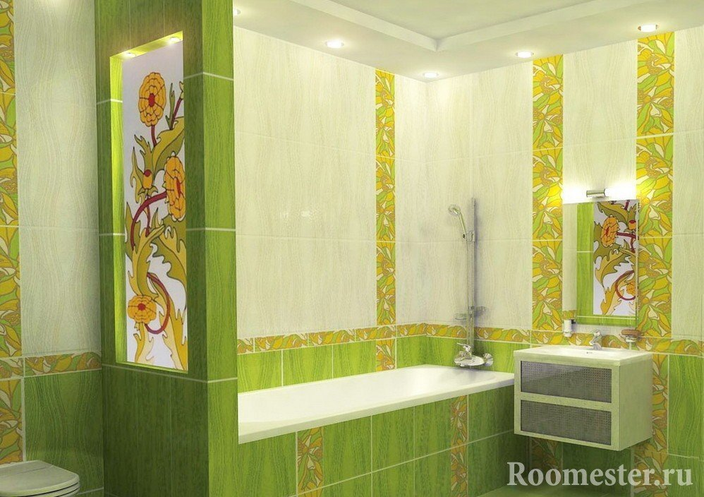 Lime tiles with patterns in the bathroom