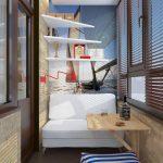 Белые полки и диван на балконе