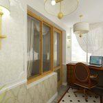 Рабочий кабинет на балконе с шикарным интерьером