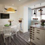 Подвесные люстры на кухне и балконе
