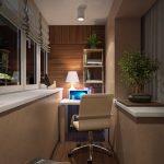 Отделка кабинета стеновыми панелями на балконе