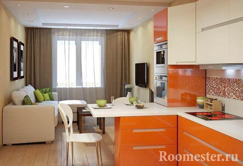Оранжевый цвет в интерьере кухни