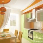 Фисташково-оранжевая кухня