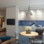Бело-синий интерьер кухни