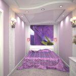 Встроенные светильники в потолке спальни