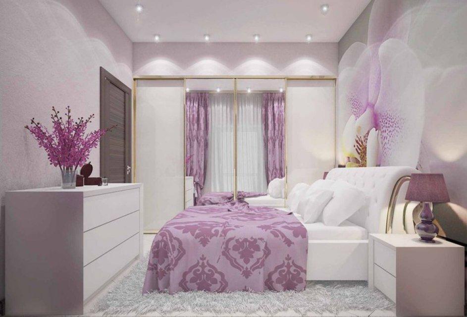 Фотообои в спальне с сиреневым интерьером