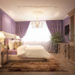 Телевизор напротив кровати в интерьере спальни