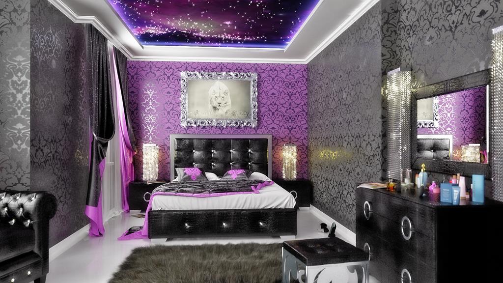 Черно-сиреневые обои в спальне