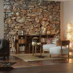 Стена из камня в интерьере