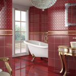 Бардовый интерьер ванной