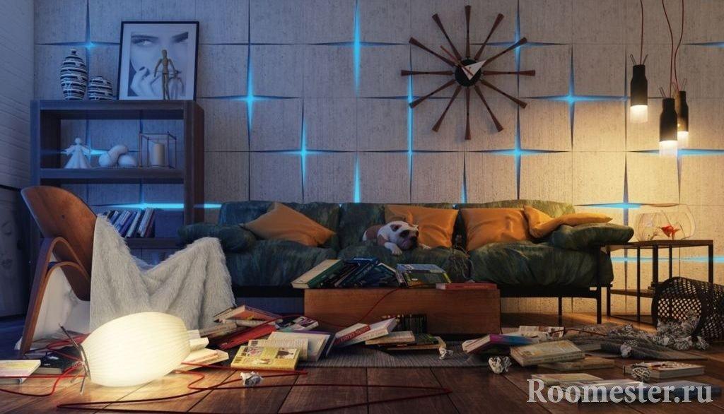Необычный интерьер комнаты