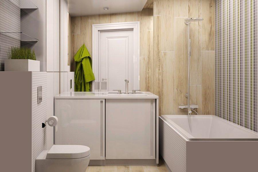 Белая мебель в интерьере ванной 5 кв м
