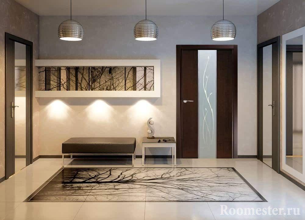 Комната в стиле минимализм с темной дверью