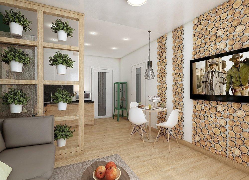 Интерьер в эко-стиле с дверью