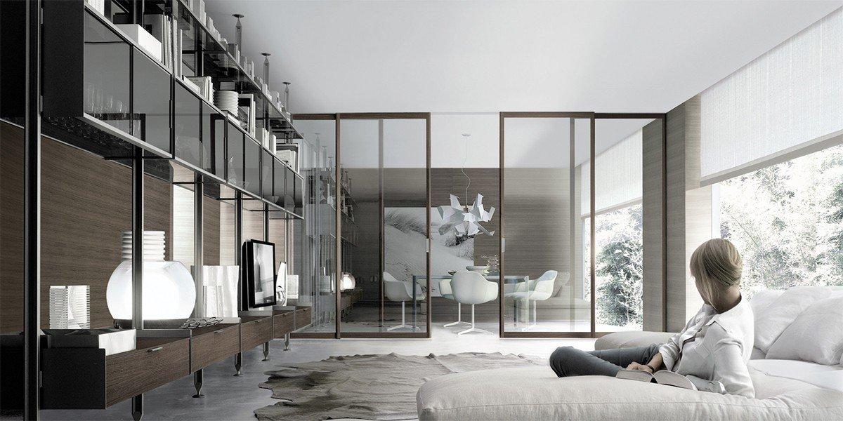 Интерьер в стиле хай-тек с раздвижными дверями