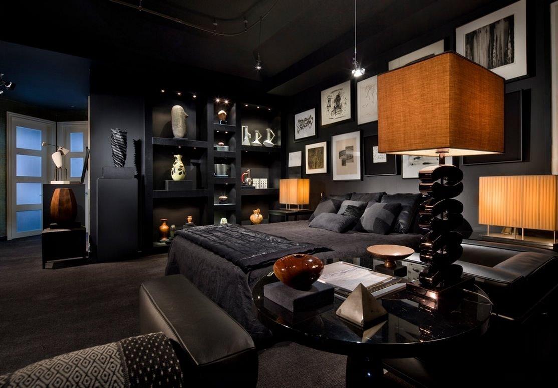 Мужская комната с черным интерьером