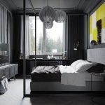 Яркая картина в мужской спальне в темных тонах