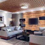 Дерево и кирпич в дизайне гостиной