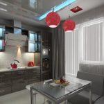 Красные люстры в сером интерьере кухни