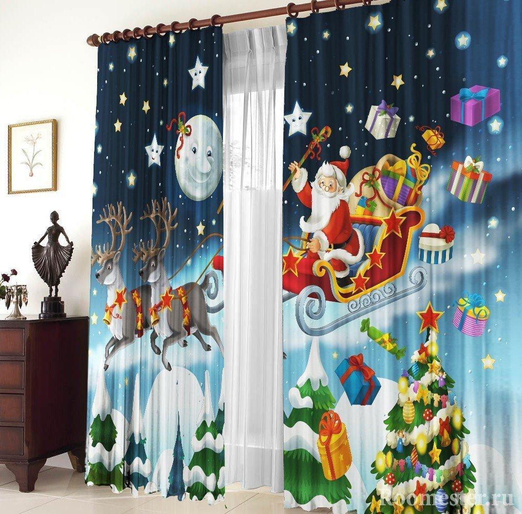 Санта-Клаус с оленями на шторах