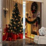 Кресло у окна с новогодними шторами
