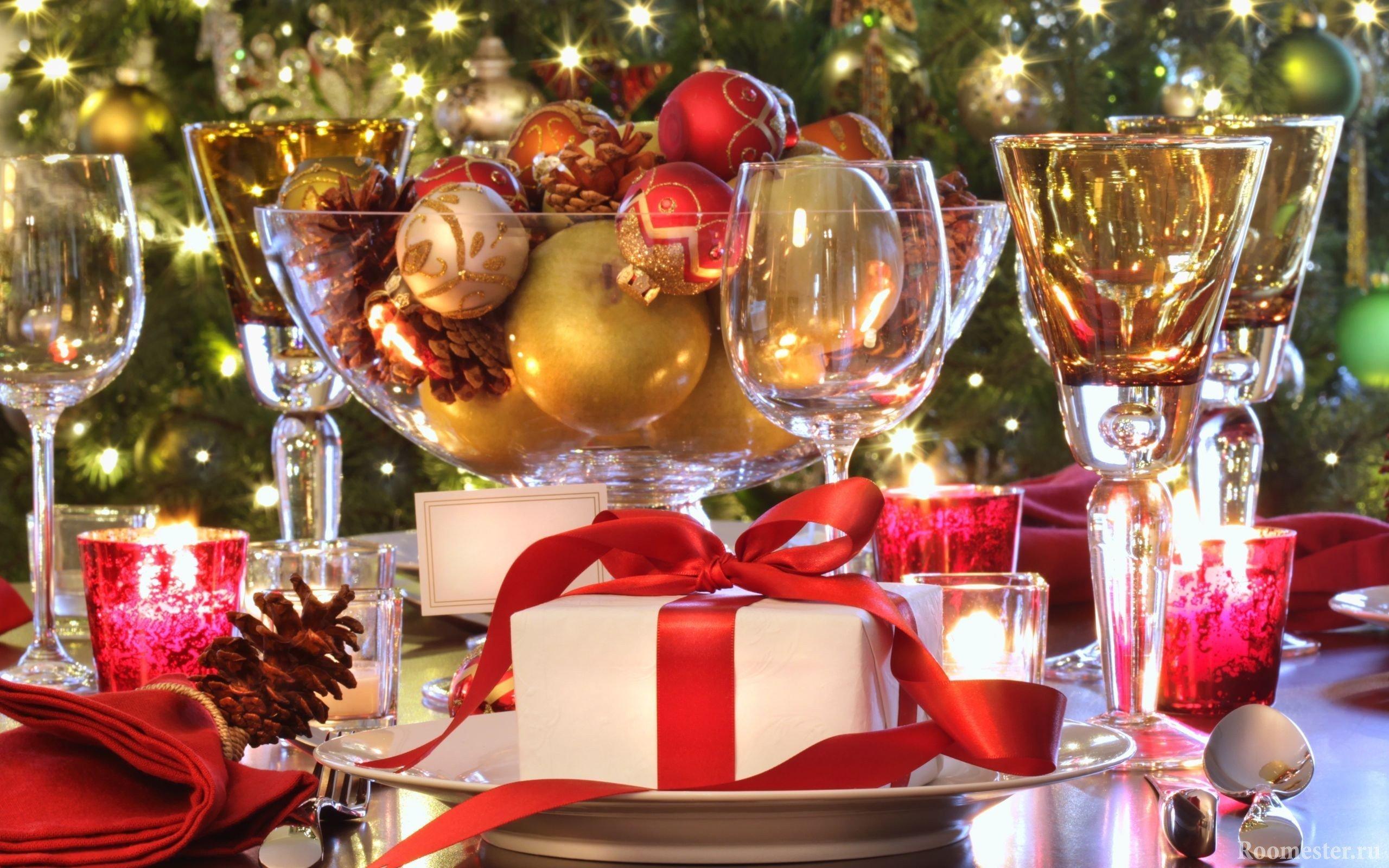 Вариант оформления стола на рождество