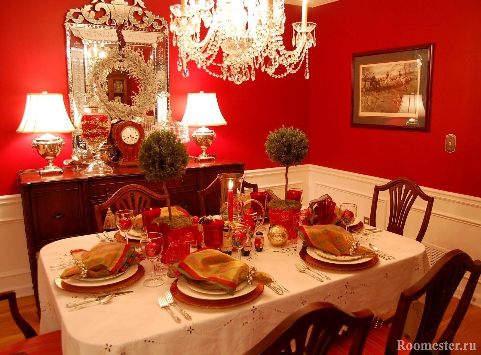 Красные стены в столовой