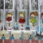 Невеста и подружки на бокалах