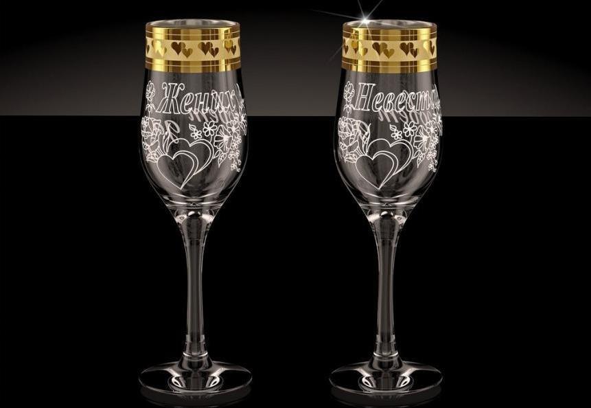 Гравировка на свадебных бокалах