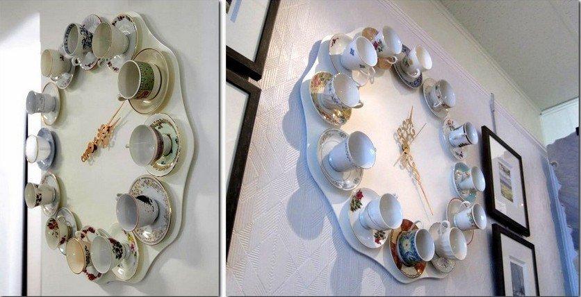 Варианты дизайна часов с чашками и блюдцами
