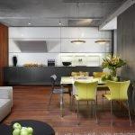 Сочетание дерева и стен под бетон на кухне