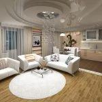 Белая мебель и ковер в гостиной