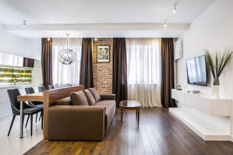 Зонирование кухни-студии при помощи мебели