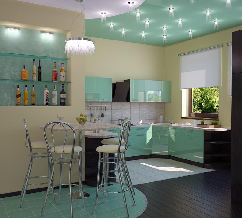 Светильники на кухне и люстра в столовой