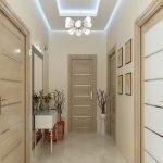 Потолок с подсветкой в интерьере прихожей
