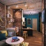 Велосипед на стене в гостиной