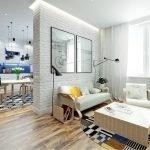 Мебель из светлого дерева в гостиной