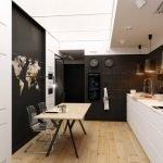 Кухня-столовая с черно-белой мебелью